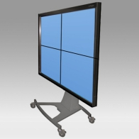 "ErgonoFlex Stand Cart, Vision Curve 200 cm for 4 screens of 32 ""- 108"" 250 Kg"