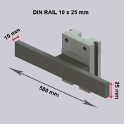 Din Rail 10 x 25 mm. Length 500 mm on vertical rail