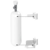 Holder for 1 Medical Gas Bottle Vertical Rail Mounting
