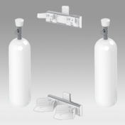 Holder for 2 Medical Gas Bottle Vertical Rail Mounting